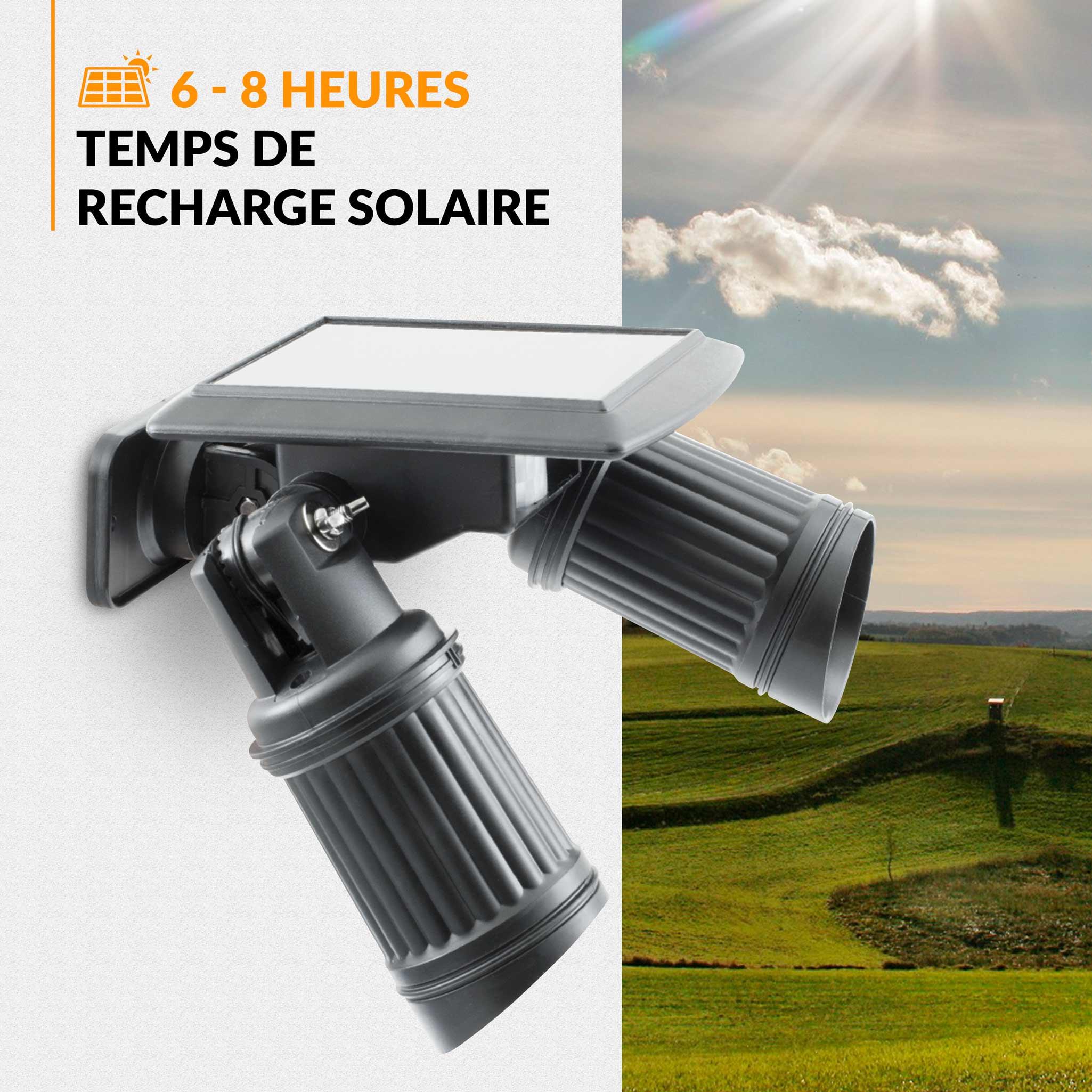 double projecteur solaire led twinspot white beesolar. Black Bedroom Furniture Sets. Home Design Ideas